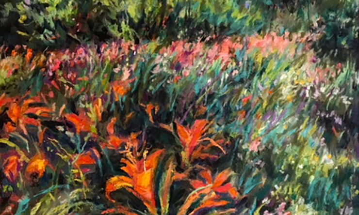 Orange flowers in landscape